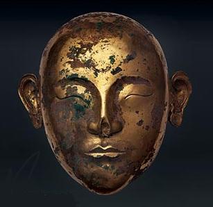 a similar gold mask-brushed