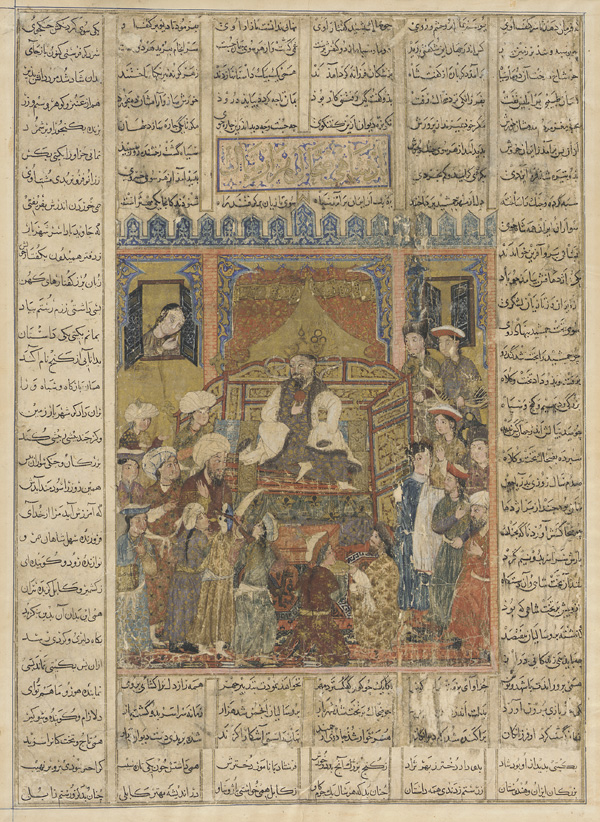Mongol Shahnama-Zahak_consults_the_physicians_at_court