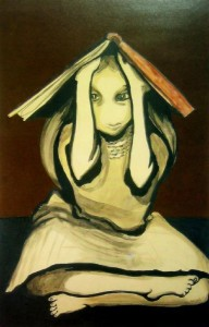 Girl with Book on Head